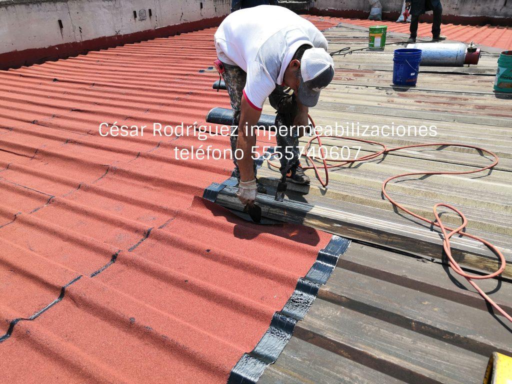 impermeabilización de techos de lámina de metal o galvanizada.